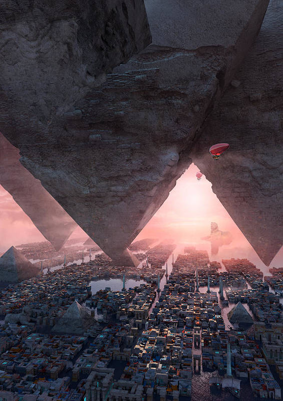 Landscape Poster featuring the digital art wonders great pyrimaid of Giza by Te Hu