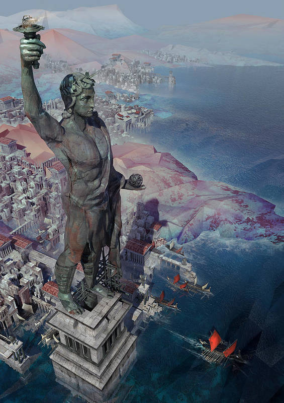 Landscape Poster featuring the digital art wonders the Colossus of Rhodes by Te Hu