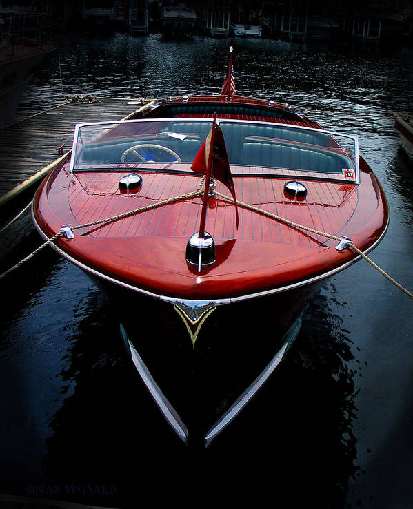 Susan Vineyard Poster featuring the photograph Wooden Boat by Susan Vineyard