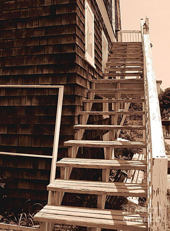 Stairs Poster featuring the photograph Wooden Stairs In Sepia by Colleen Kammerer