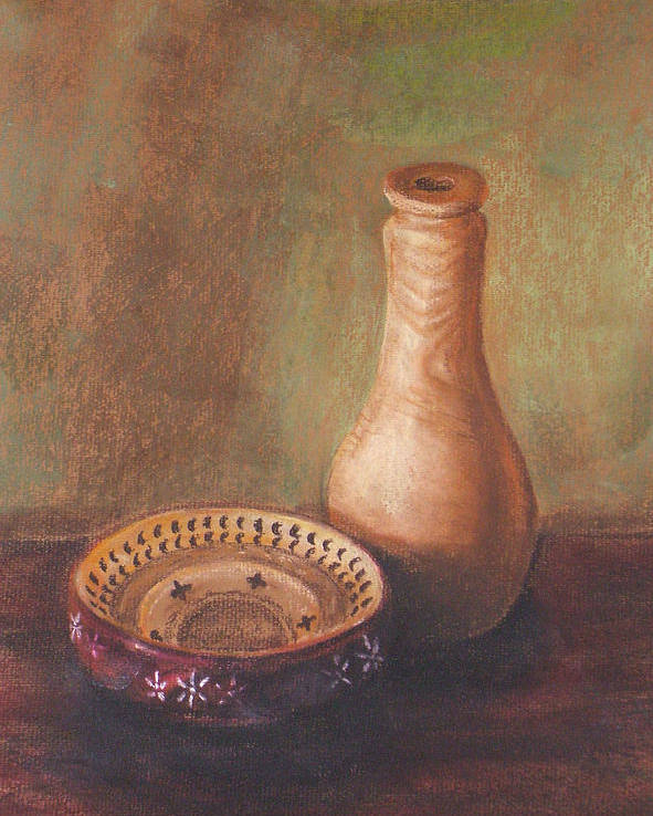 Still Life Poster featuring the painting Wooden Vase by Srilata Ranganathan