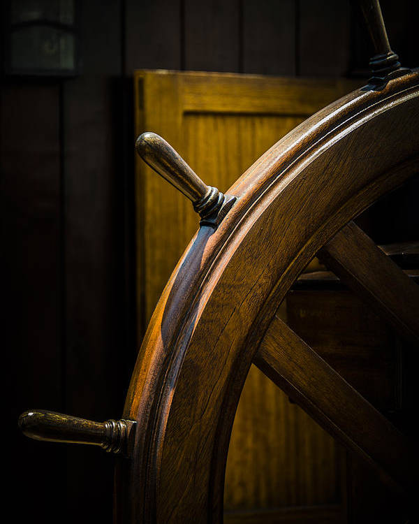 Boats Poster featuring the photograph Wooden Wheel by Karen Hanley Colbert