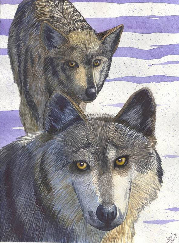 Wolf Poster featuring the painting Woofies by Catherine G McElroy