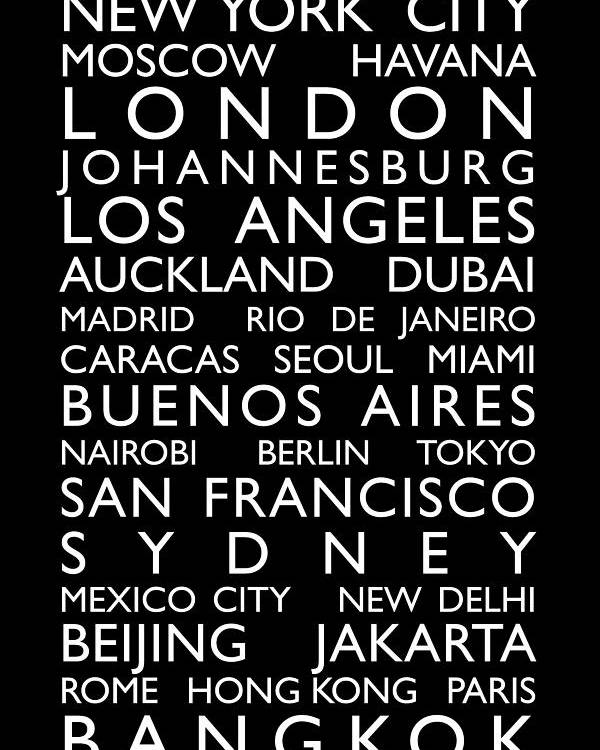World Map Poster featuring the digital art World Cities Bus Roll by Michael Tompsett