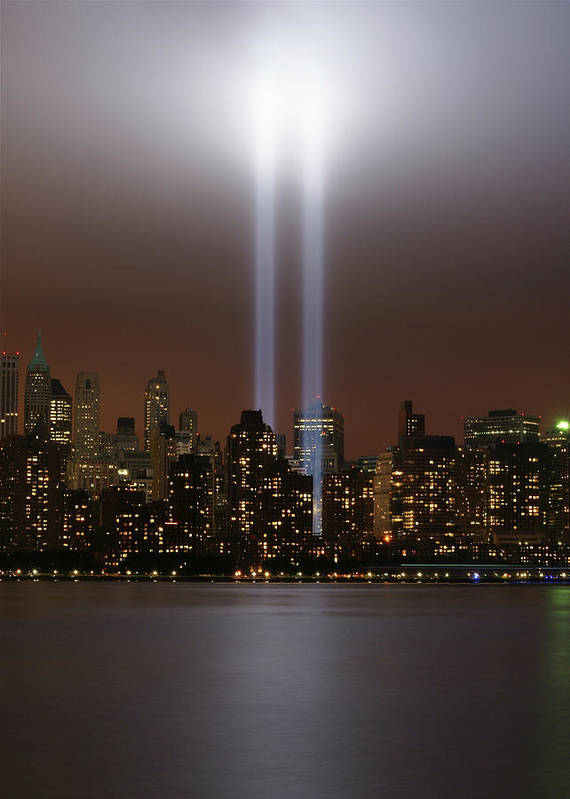 Vertical Poster featuring the photograph World Trade Center Tribute In Light by Greg Adams Photography