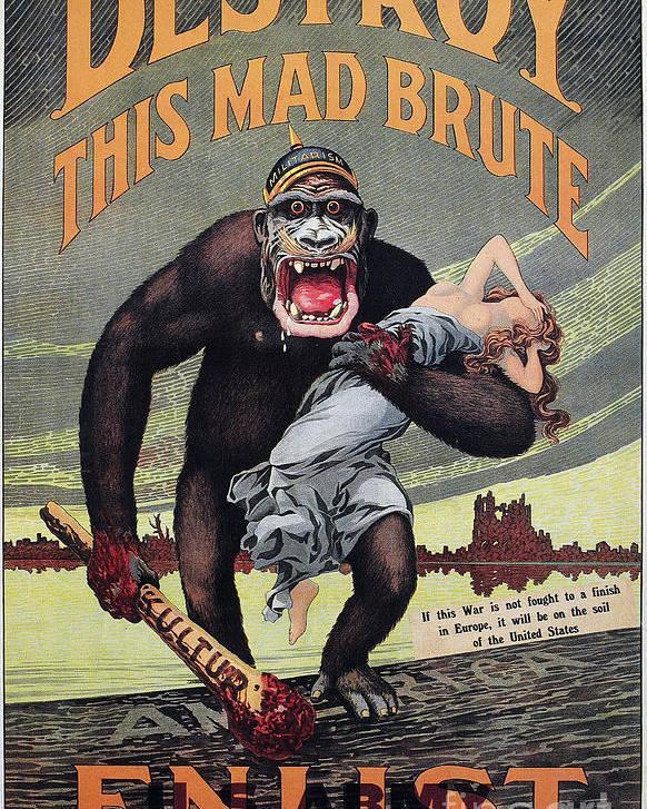 1917 Poster featuring the photograph World War I: Recruitment by Granger
