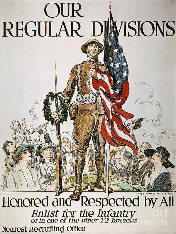 1918 Poster featuring the photograph World War I: U.s. Army by Granger