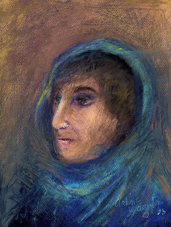 Woman Poster featuring the pastel Wrapped In A Shawl by Arline Wagner
