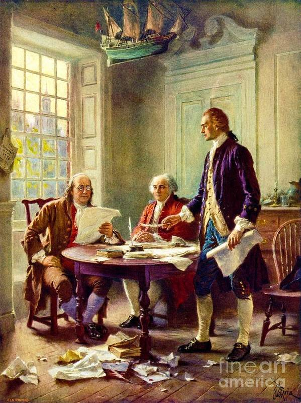 Reproduction Poster featuring the painting Writing Declaration Of Independence by Pg Reproductions