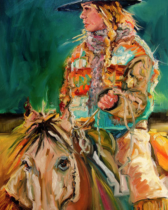 Cowgirl Diane Whitehead Poster featuring the painting Wyoming Cowgirl by Diane Whitehead