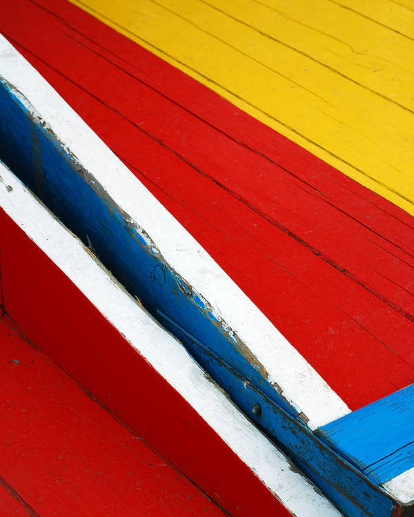 Red Poster featuring the photograph Xochimilco Boat Abstract 1 by Skip Hunt