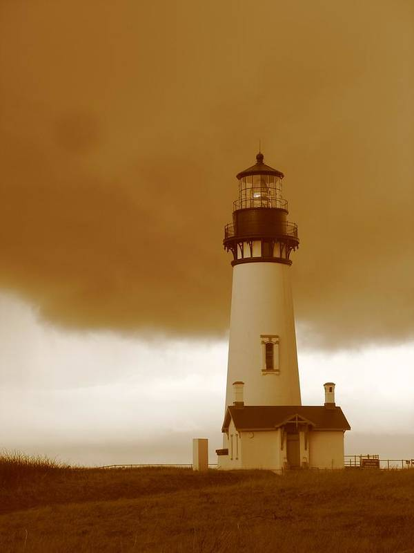 Lighthouse Poster featuring the photograph Yaquina Head Lighthouse Sepia by Juli House
