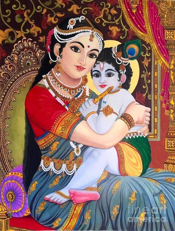 Yashoda Poster featuring the drawing Yashoda Krishna by Sukkanya Ramanathan
