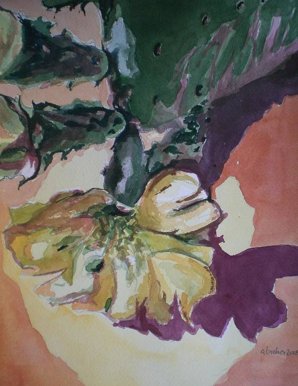 Poster featuring the painting Yellow Blossom Purple Shadow by Aleksandra Buha