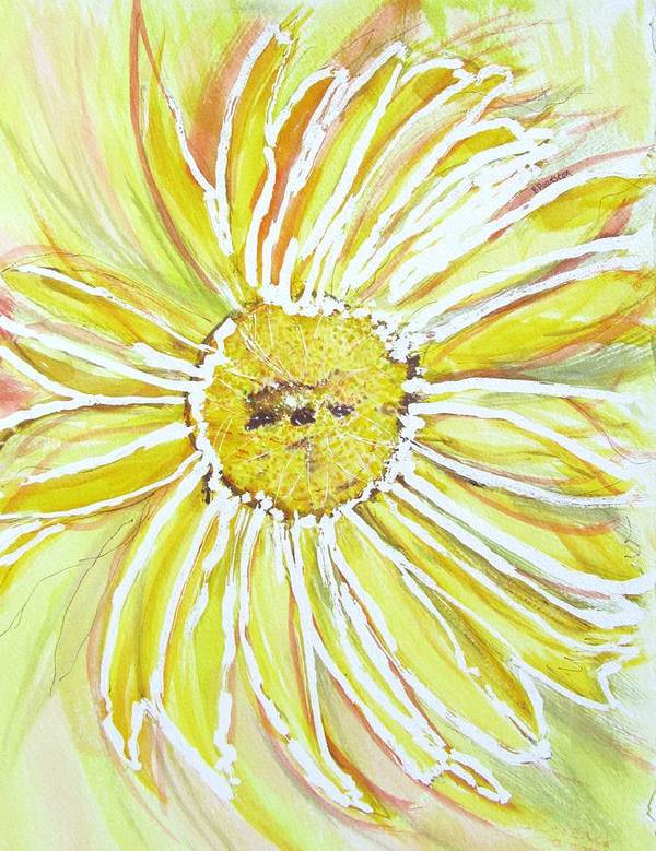 Flower Poster featuring the painting Yellow Daisy Portrait by Barbara Pearston