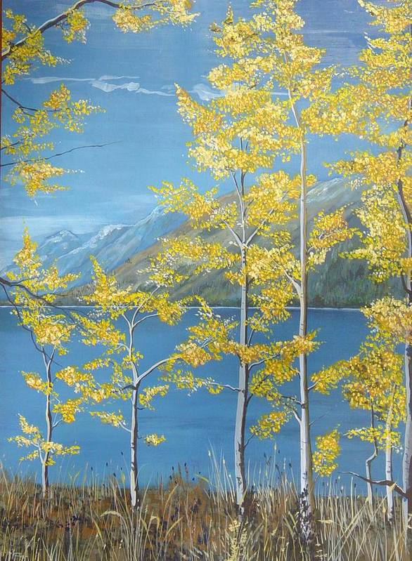 Landscape Poster featuring the painting Yellow Dreams by Kris Dixon