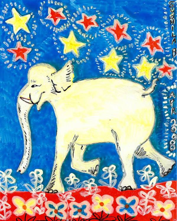Sue Burgess Poster featuring the painting Yellow Elephant Facing Left by Sushila Burgess