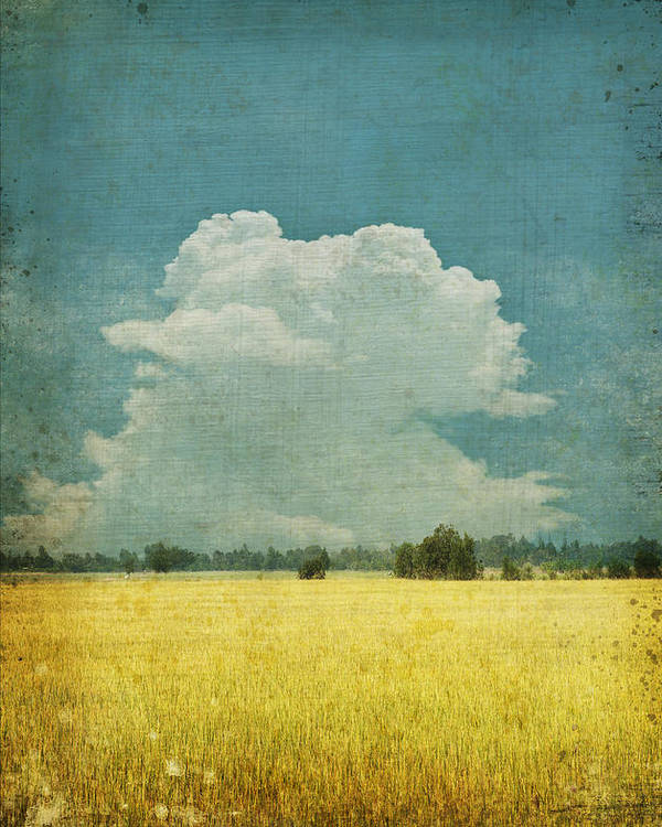 Abstract Poster featuring the photograph Yellow field on old grunge paper by Setsiri Silapasuwanchai