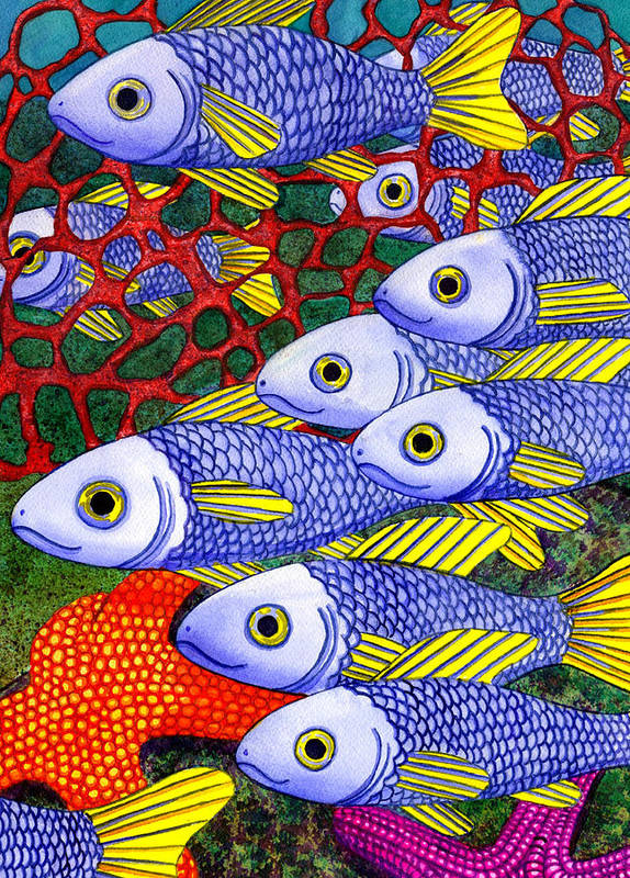 Fish Poster featuring the painting Yellow Fins by Catherine G McElroy