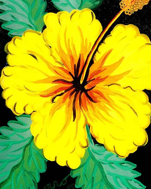 Hibiscus Artwork Poster featuring the painting Yellow Hibiscus by Helen Gerro