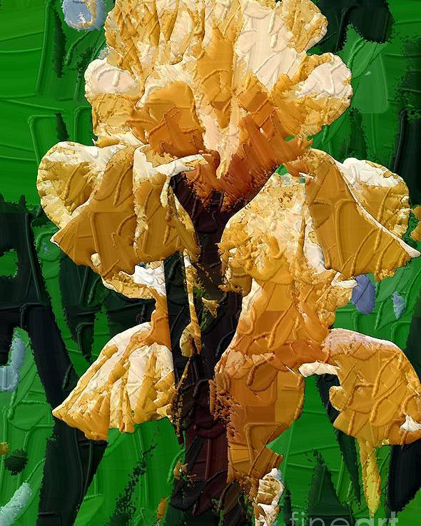 Diane Berry Poster featuring the painting Yellow Iris by Diane E Berry