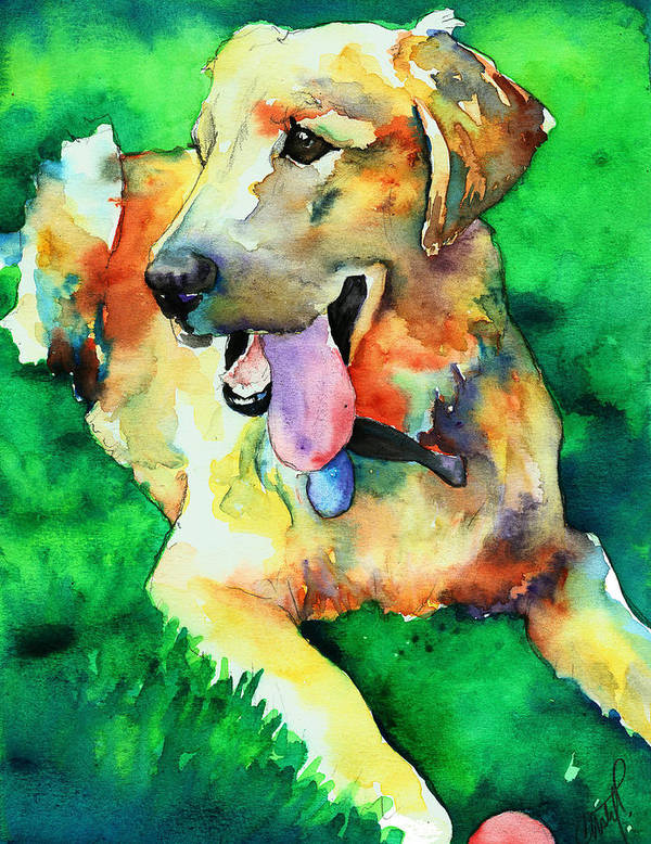 Yellow Lab Poster featuring the painting Yellow Labrador by Christy Freeman Stark