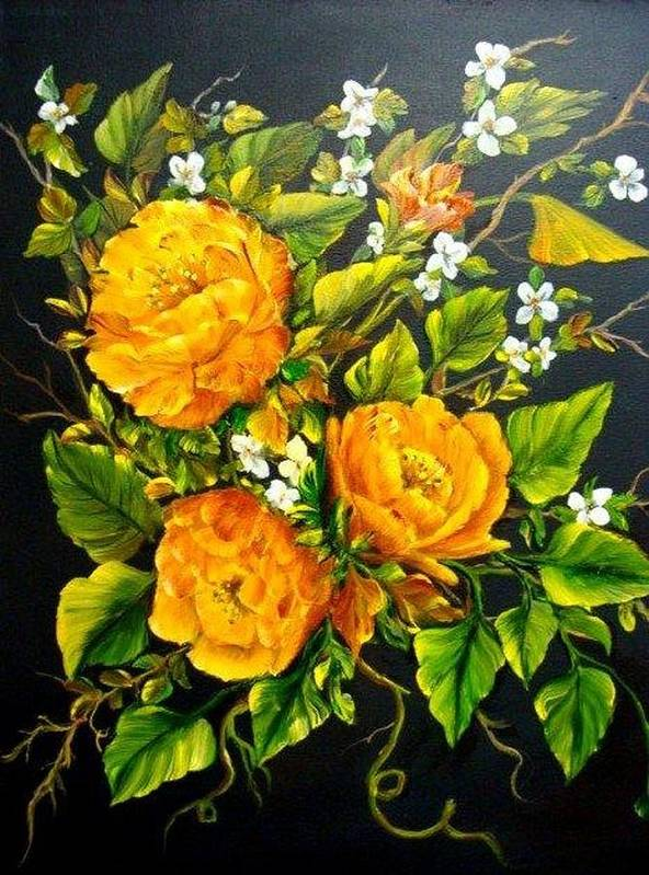 Roses Poster featuring the painting Yellow Roses by Theresa Jefferson