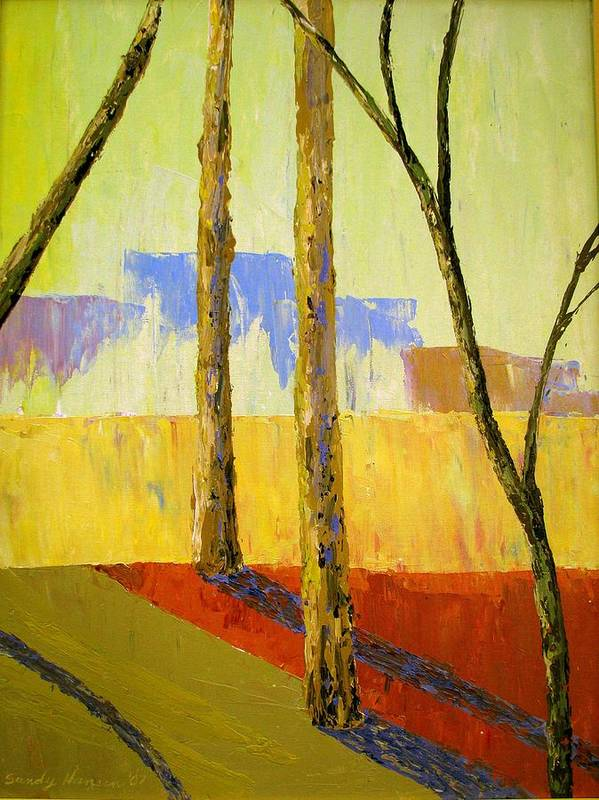 India Poster featuring the painting Yellow Trees by Art Nomad Sandra Hansen