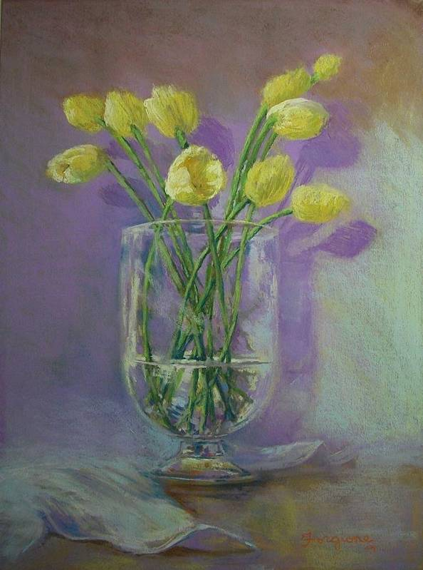 Pastels Poster featuring the pastel Yellow Tulips In A Glass by Tom Forgione