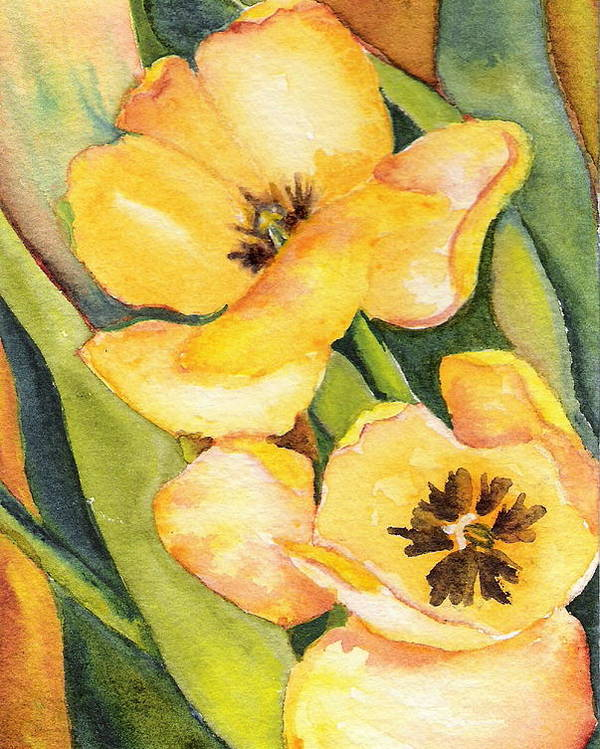 Yellow Tulips Flower Garden Green Painting Watercolor Poster featuring the painting Yellow Tulips by Marsha Woods