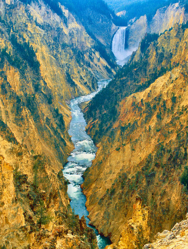 Landscape Poster featuring the photograph Yellowstone Canyon by Alex Nakhshon