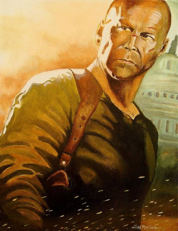 Bruce Willis Poster featuring the painting Yippee-ki-yay You Know The Rest by Al Molina