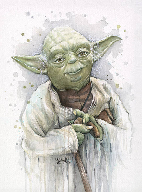 Yoda Poster featuring the painting Yoda by Olga Shvartsur