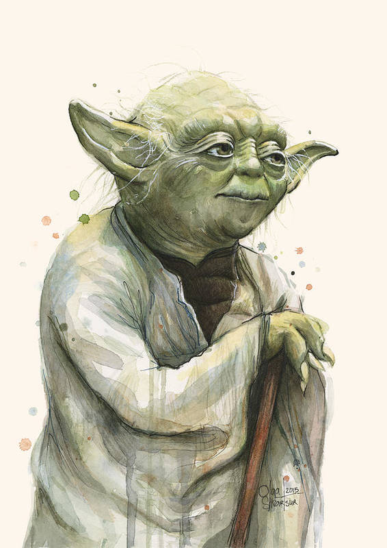 Yoda Poster featuring the painting Yoda Portrait by Olga Shvartsur