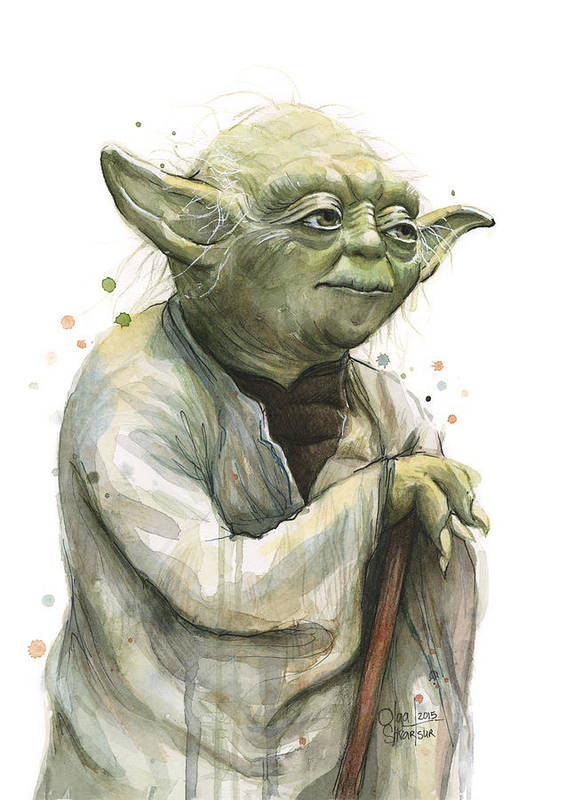 Yoda Poster featuring the painting Yoda Watercolor by Olga Shvartsur