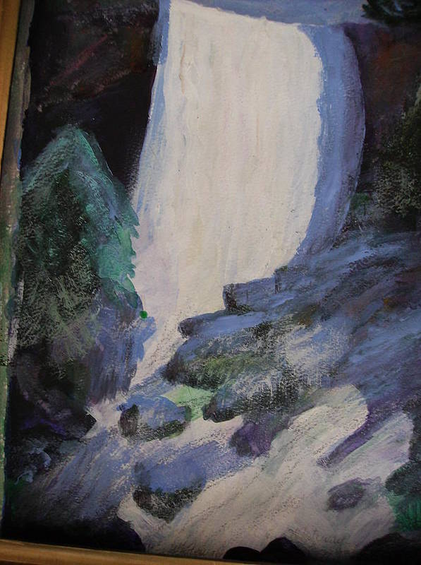 Falls Poster featuring the painting Yosemite Falls by Anne-Elizabeth Whiteway