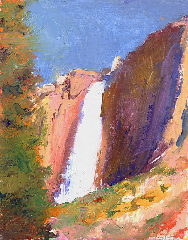 Landscape Poster featuring the painting Yosemite Falls by Timothy Chambers