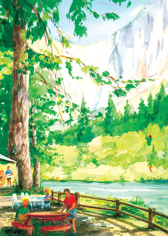 Yosemite Poster featuring the painting Yosemite Picnic by Ray Cole