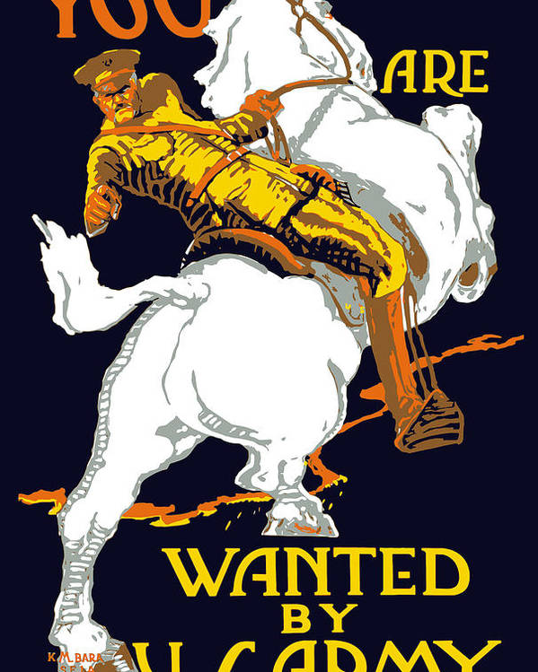 Ww1 Poster featuring the painting You Are Wanted By Us Army by War Is Hell Store