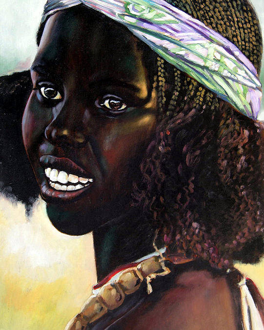 Young Black African Girl Poster featuring the painting Young Black African Girl by John Lautermilch