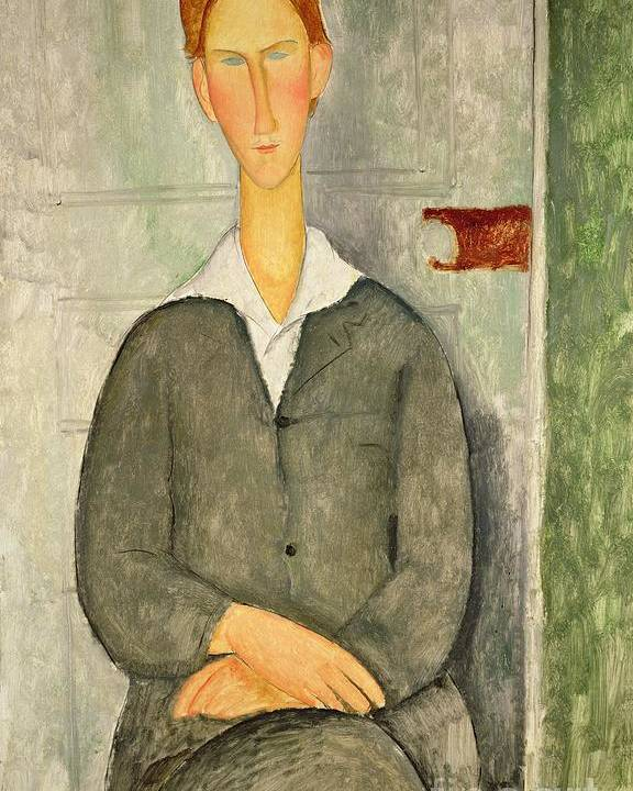 Young Poster featuring the painting Young Boy With Red Hair by Amedeo Modigliani
