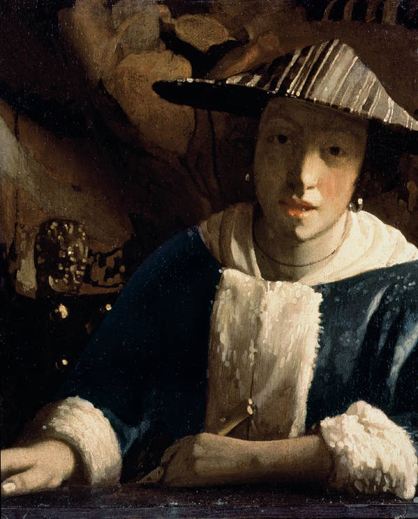 Vermeer Poster featuring the painting Young Girl With A Flute by Jan Vermeer