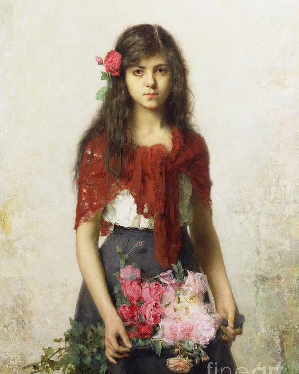 Young Girl With Blossoms Poster featuring the painting Young Girl With Blossoms by Alexei Alexevich Harlamoff