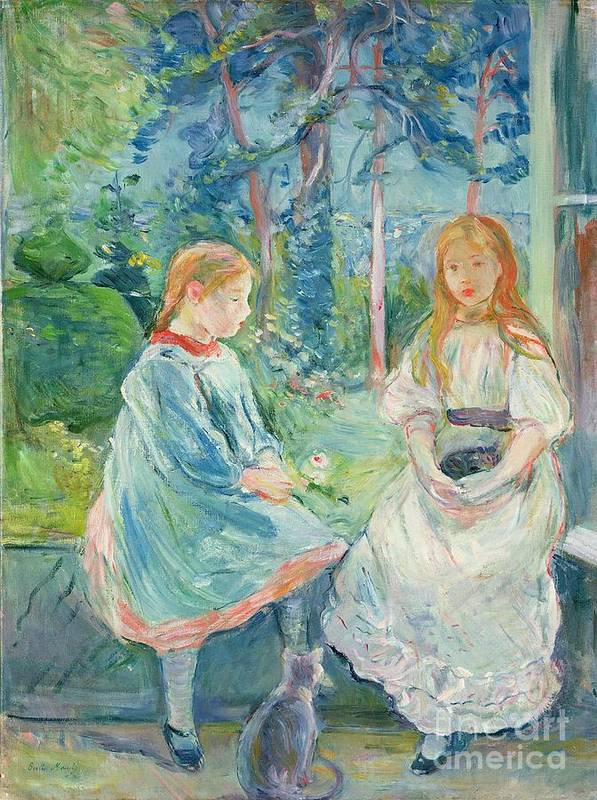 Young Poster featuring the painting Young Girls At The Window by Berthe Morisot