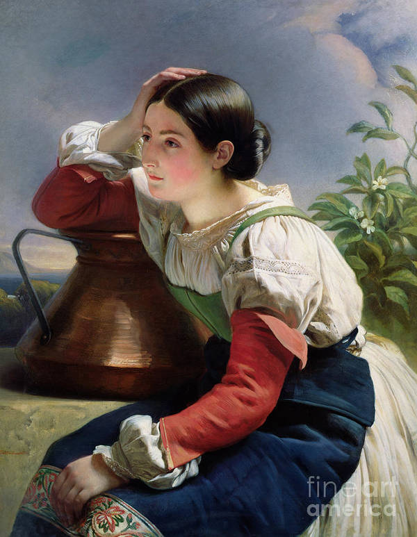 Young Poster featuring the painting Young Italian At The Well by Franz Xaver Winterhalter