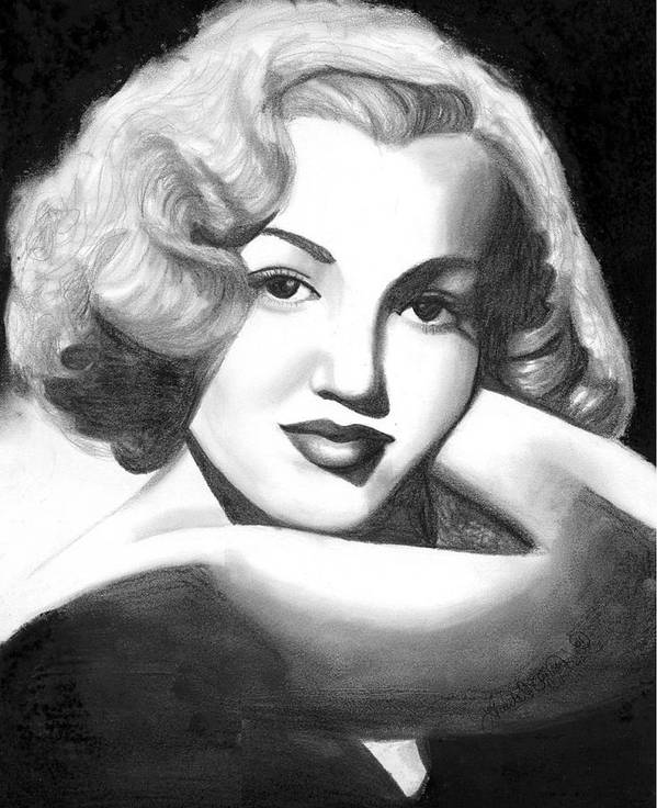 Portrait Poster featuring the drawing Young Marilyn by Scarlett Royal