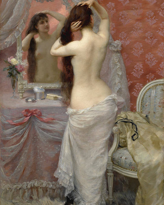Jean Andre Rixens Poster featuring the painting Young Nude Woman Styling In An Interior by Jean Andre Rixens