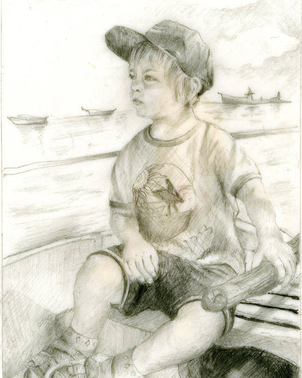 Pencil Drawing Poster featuring the painting Young Skipper by Nira Schwartz