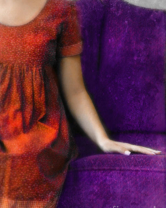 Woman Poster featuring the photograph Young Woman In Red On Purple Couch by Jill Battaglia