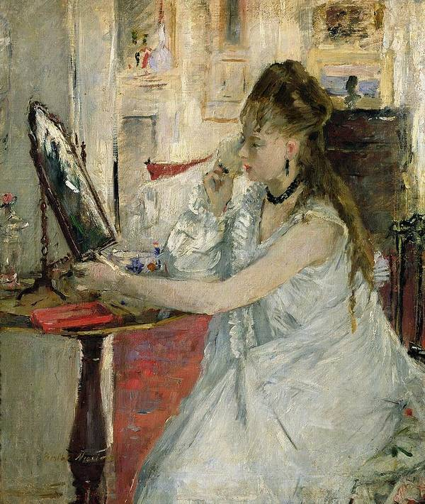 Young Poster featuring the painting Young Woman Powdering Her Face by Berthe Morisot